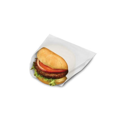 "BAGCRAFT PAPERCON® 6.5"" x 6"" x 0.75"" Open-Top Grease-Resistant Sandwich Bags in White"