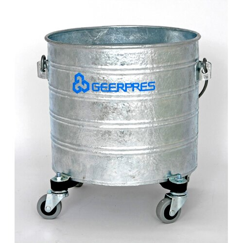 "Geerpres® Galvanized 4 Gallon Round Mop Bucket with 2"" Casters"