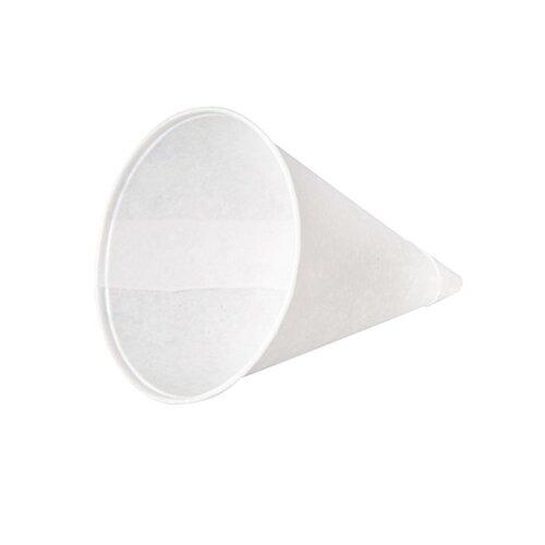 KONIE® 4 oz Rolled-Rim Paper Cone Cups in White