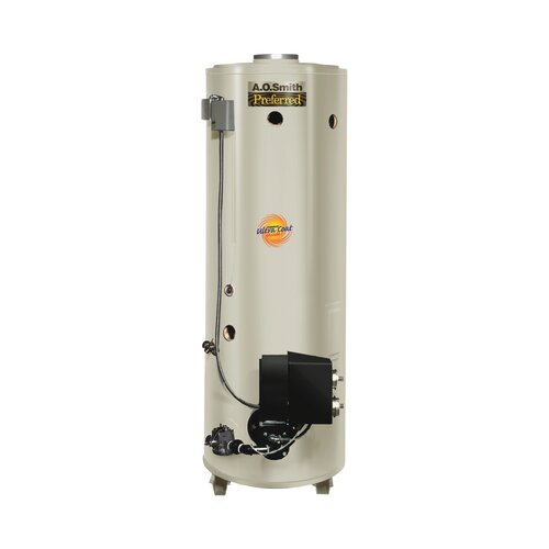 A.O. Smith Commercial Tank Type Water Heater Nat Gas Conservationist 370,000 BTU Input Powered Burner