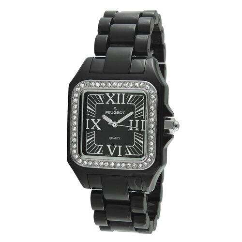 Peugeot Women's Swarovski Elements Bezel Watch in Black Acrylic