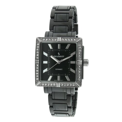 Peugeot Swiss Women's Ceramic Swarovski Crystal Dial Watch in Black