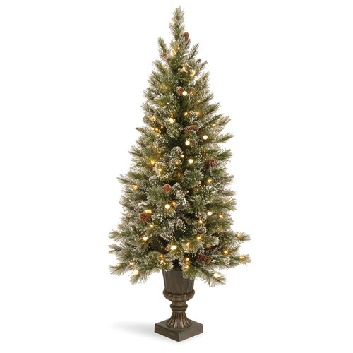 Glittery Bristle Pine 5' Green Pine Entrance Artificial Christmas Tree with 150 Soft White LED ...