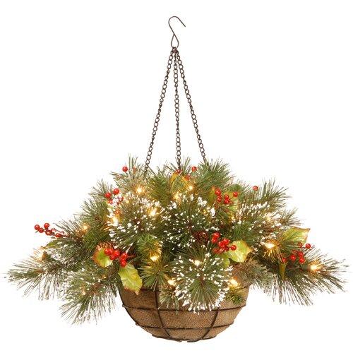 Wintry Pine Pre-Lit Round Hanging Basket