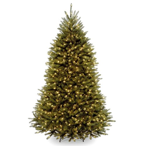 Dunhill Fir 7.5' Hinged Green Artificial Christmas Tree with 600 Colored & Clear Lights
