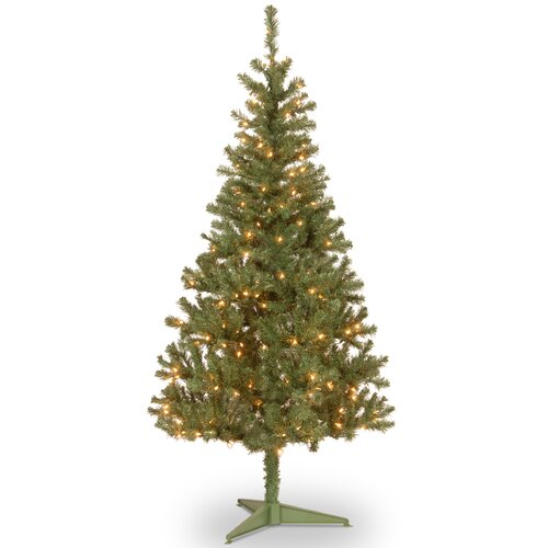 Canadian Fir 6' Green Wrapped Artificial Christmas Tree with 200 Colored & Clear Lights