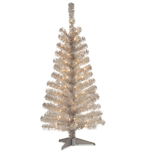 4' Silver Artificial Christmas Tree with 70 Clear Lights and Stand