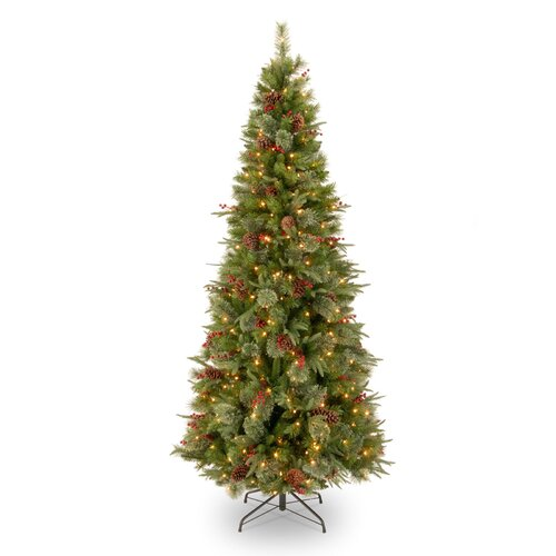 National Tree Co. Colonial 7.5' Green Slim Artificial Christmas Tree with 400 Pre-Lit Clear Lights with Stand