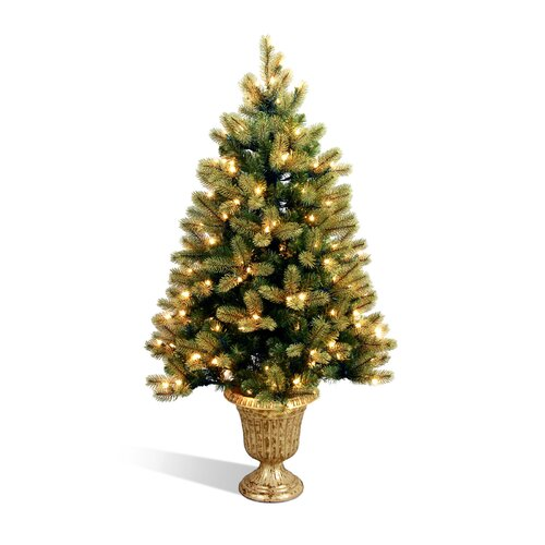 Douglas Fir 4' Green Downswept Fir Entrance Artificial Christmas Tree with 100 Pre-Lit Clear ...