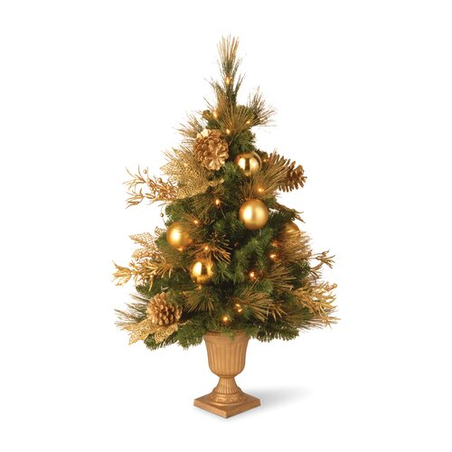 3' Green Elegant Entrance Artificial Christmas Tree with 50 Pre-Lit Clear Lights with Urn Base ...
