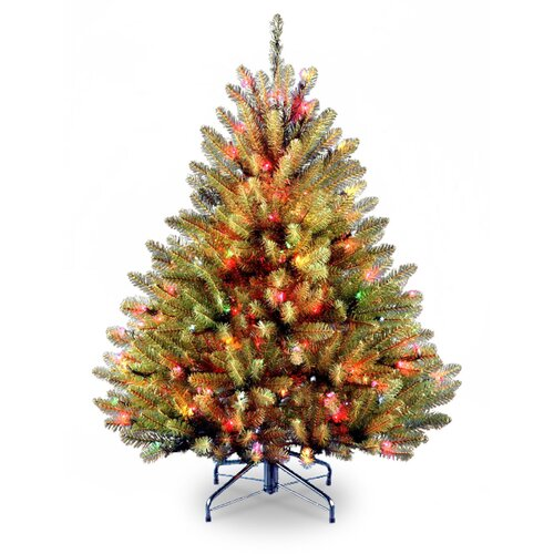National Tree Co. Dunhill Fir 4.5' Green Artificial Christmas Tree with Multi-Colored Lights with Stand