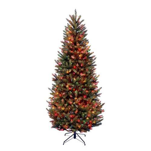 National Tree Co. Natural Fraser 7.5' Green Slim Fir Artificial Christmas Tree with 1000 Pre-Lit Multi-Colored Lights with Stand