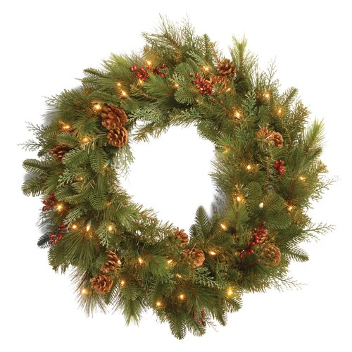 "National Tree Co. Pre-Lit 30"" Noble Mixed Wreath"