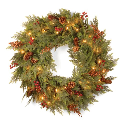 "National Tree Co. Pre-Lit 30"" Cedar Mixed Pine Wreath"