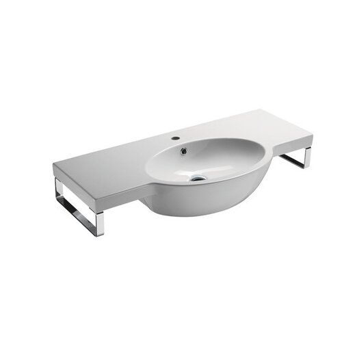 ... Collection Panorama Modern Design Curved Wall Mounted Bathroom Sink