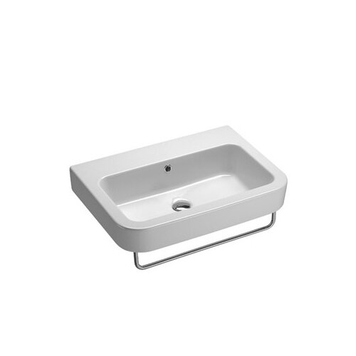 ... Collection Traccia Modern Curved Wall Hung Bathroom Sink with Overflow
