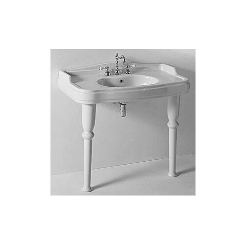 Old Antea Classic-Style Curved White Ceramic Sink with Two Legs