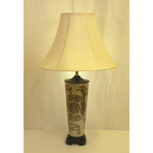 """Lamp Factory Medallion 28"""" H Table Lamp with Bell Shade"""