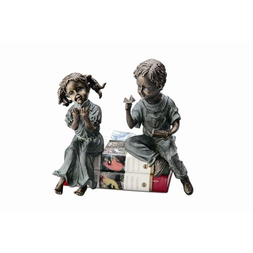 Boy and Girl Shelf Sitters Statue