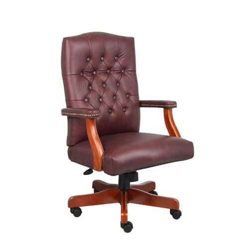 Boss Office Products Traditional High-Back Italian Leather Office Chair