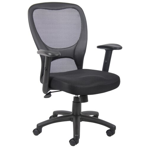 Boss Office Products High Back Mesh Task Chair with Adjustable Arms