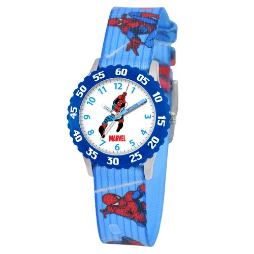 Marvel Kid's Spider-Man Time Teacher Watch in Printed Blue with Blue Bezel