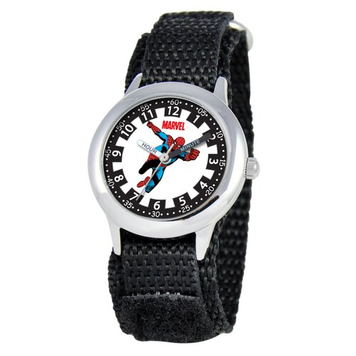 Marvel Kid's Spider-Man Time Teacher Velcro Watch in Black