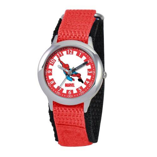 Marvel Kid's Spider-Man Time Teacher Velcro Watch in Red