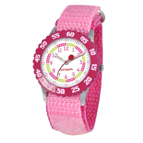 Kid's Stainless Steel Time Teacher Watch in Pink