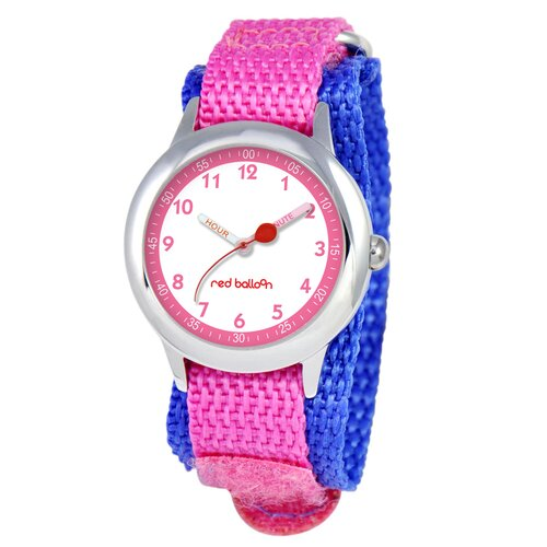 Kid's Stainless Steel Time Teacher Velcro Watch in Pink
