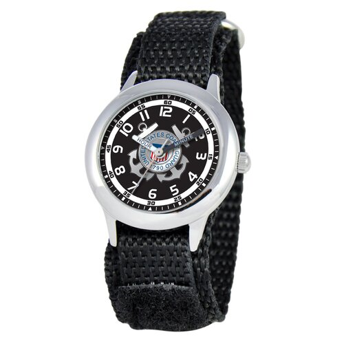 EWatchFactory Kid's Military Coast Guard Time Teacher Velcro Watch in Black
