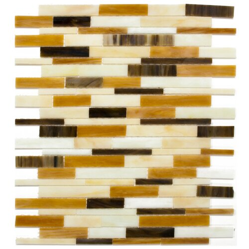Surfaces Elida Random Sized Glass Mosaic in Mocha Seashell Brick