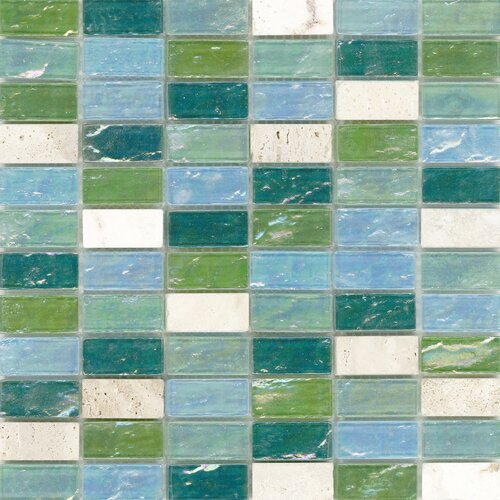 Surfaces Elida Glass Mosaic in Minty Brick
