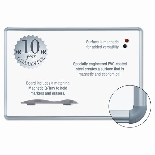"Balt Magnetic Markerboard, Hardware Included, 1"" W Frame, White"
