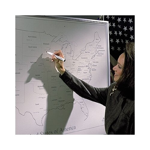 Best-Rite® Porcelain Lifetime World Map 4' H x 4' L Whiteboard