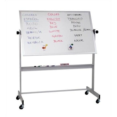 "Best-Rite® Deluxe Reversible Porcelain 2'6"" H x 3'4"" L Whiteboard with Aluminum Frame"