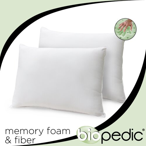 BioPEDIC Memory Plus Classic Memory Foam and Fiber Pillows