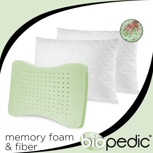 Memory Plus Quilted Pillow with GEL Memory Foam and Fiber (Set of 2)