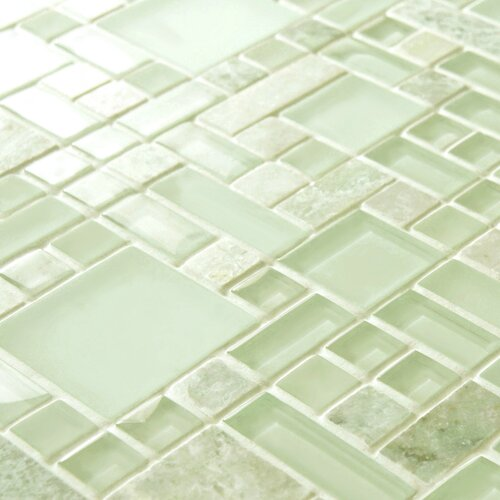 EliteTile Sierra Random Sized Glass and Stone Polished Mosaic in Ming