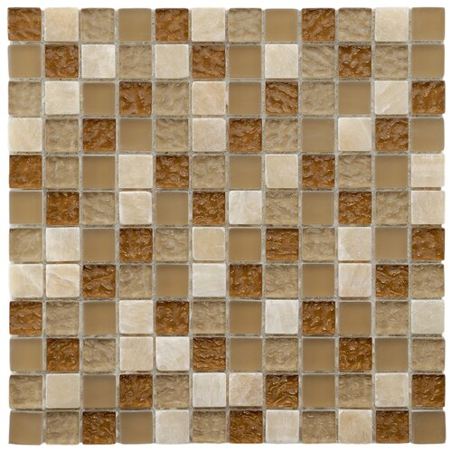 "EliteTile Sierra 7/8"" x 7/8"" Polished Glass and Stone Square Mosaic in Amber"