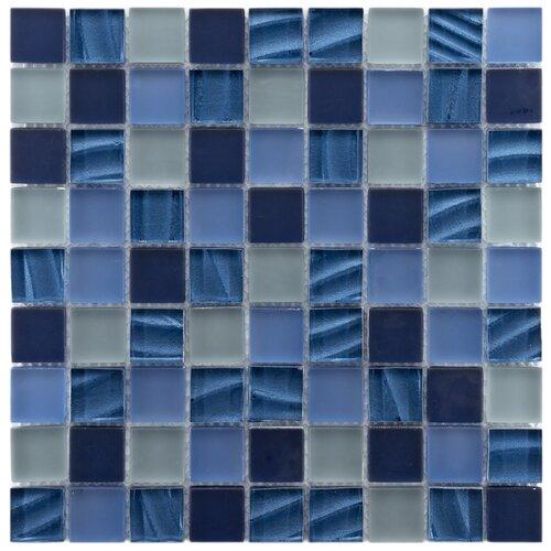 "EliteTile Neptunian 1-1/8"" x 1-1/8"" Polished Glass Mosaic in Abalone"