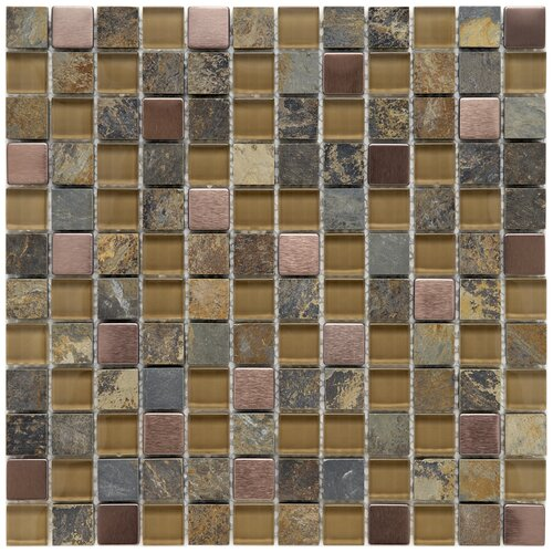 """EliteTile Abbey 7/8"""" x 7/8"""" Polished Glass, Stone and Metal Mosaic in Alloy Copper"""