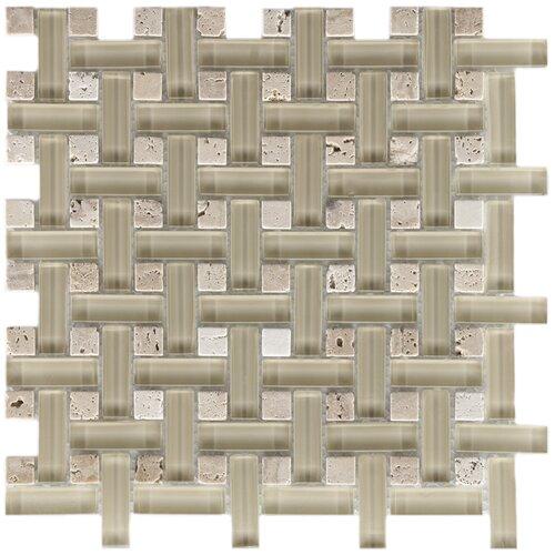 EliteTile Sierra Random Sized Polished Glass and Stone Basketweave Mosaic in Sand