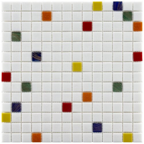 "EliteTile Fused Glass 3/4"" x 3/4"" Polished Glass Mosaic in Happy"