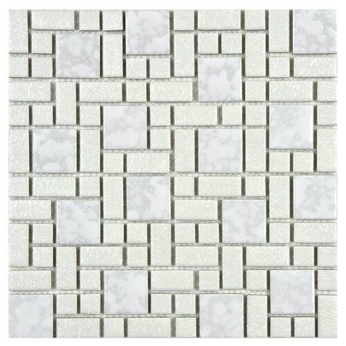 EliteTile Academy Random Sized Porcelain Mosaic in White