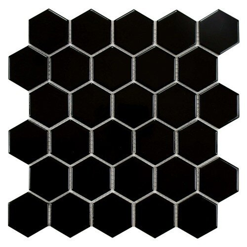"EliteTile Retro 2"" x 2"" Glazed Porcelain Mosaic in Glossy Black"