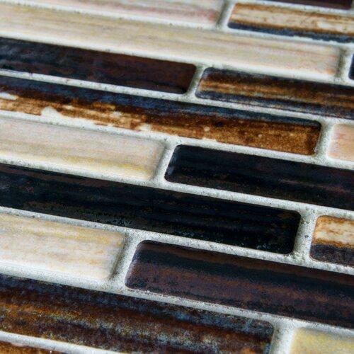"""EliteTile Arcadia 3-1/2"""" x 1/2"""" Glazed Porcelain Brick Mosaic in Highlands"""