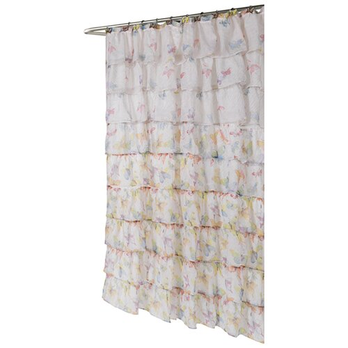 Carmen Butterfly Print Crushed Voile Ruffle Tier Polyester Fabric Shower Curtain