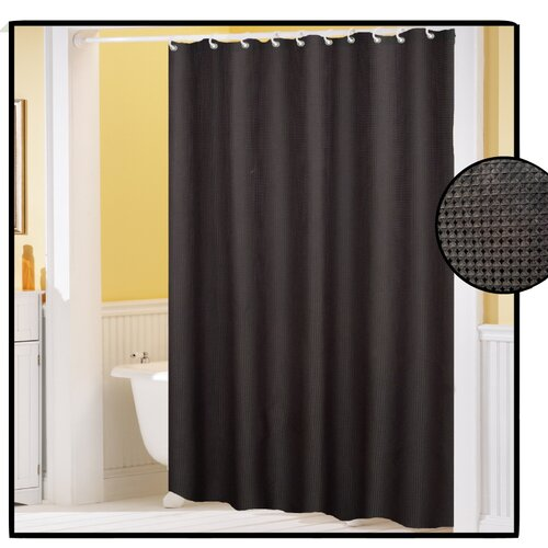 carnation home fashions waffle weave polyester fabric shower curtain reviews wayfair. Black Bedroom Furniture Sets. Home Design Ideas