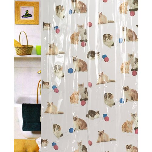 Carnation Home Fashions Kitty Heaven Vinyl Shower Curtain